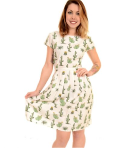 WOMENS RUN /& FLY Indie Retro Vintage 50/'sstyle cream tea dress with cactus print