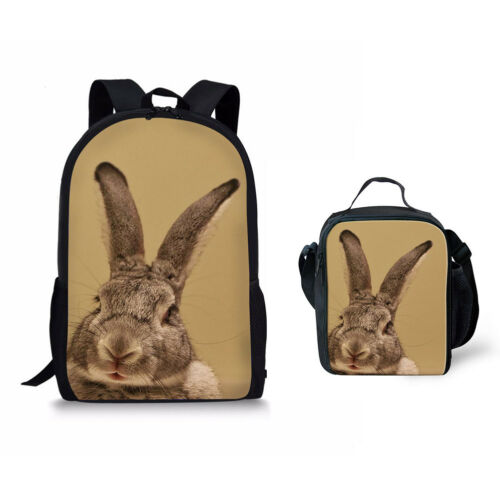 School Backpack Rabbit Print Fashion Satchel With Lunch Bag Insulated Cooler Bag