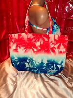Victorias Secret Pink Tote Palm Print Multi Color