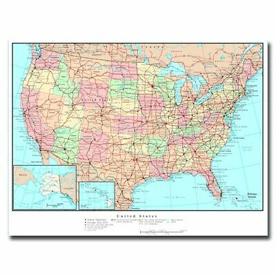 United States US Road Map 24x32 20x27inch Silk Poster Art Print Wall on detailed map of the usa, political map of usa, detailed map of brooklyn new york, lake winnipeg map of usa, detailed map of usa with states and cities, united states maps usa, detailed street map, county map of usa, driving road map usa, map of northern states of usa, interstate map western usa, national highway map of usa, old-style map of usa, detailed map south america, large detailed map of usa, detailed us map, detailed map of georgia usa, all map of usa, detailed map of washington dc area,