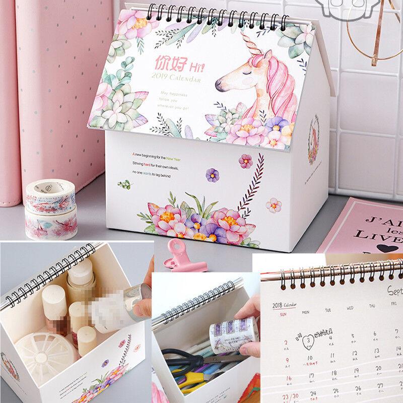 2018 2019 Unicorn Desktop Flip Calendar Stand Up Table Planner