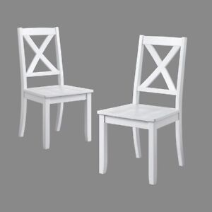 Details About Farmhouse Dining Chairs White French Country Cottage Shabby Chic Wooden Set 2