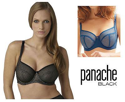 Panache Black Esme Underwired Balcony Bra 9031 Black/Nude or Petrol Blue