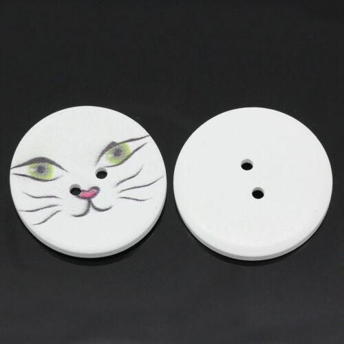 10 Stk 2 Löcher Katzengesicht Runde Holzknöpfe zum aufnähen - Ø 4 cm