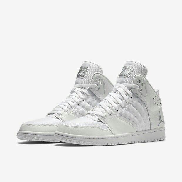 Mens Jordan 1 Flight 4 Mens Basketball schuhe - Weiß Metallic Silber 820135-100