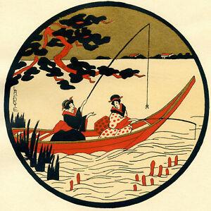 1930s-French-Pochoir-Print-Art-Deco-LAFUGIE-Japanese-Geisha-Fishing-Boat-S