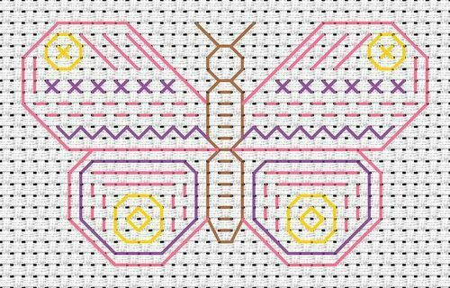 Beginners Blackwork Butterfly Counted Cross Stitch Kit 11 Count Fat Cat