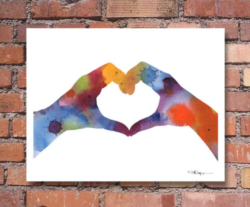 Love Hands Abstract Watercolor Painting Art Print by Artist DJ Rogers