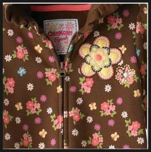 OSHKOSH Baby Girls Floral Hoodie Sweatshirt Brown 12 Mo 12M NWT Sweater Jacket
