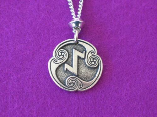 """Eihwaz Viking Rune of Defense Pewter Pendant  Eternal life 24/"""" chain Celtic."""