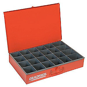 DURHAM Steel Compartment Box,12 In D,18 In W,3 In H, 102-17-S1158, Red