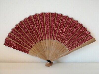 Bellissimo Fan Sensu Ventaglio Tradizionale Originale Giappone Rosso Bordeaux