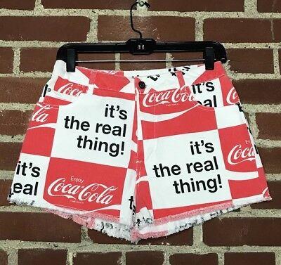 NWT Coca Cola Shorts Small Medium High Waist Denim Cut Off Red White Black Soda