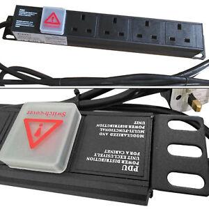 """4 VIE 13A PDU Orizzontale Interruttore Rack Mount 19"""" Estensione Unità di distribuzione  </span>"""