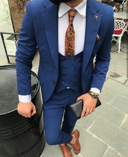 2019 Blue 3 Pieces Slim Fit Groom Tuxedos Best Men Formal Business Wedding Suits