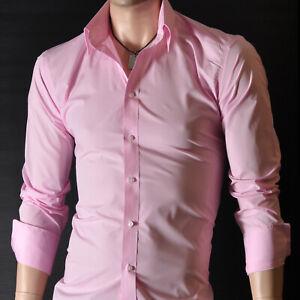 Da-Uomo-Rosa-Manica-Lunga-Camicie-casual-Formale-Slim-Fit-Camicia-100-cotone-S-M-L-XL