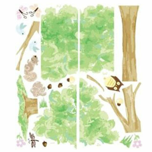 TREE & OWL WALL STICKERS NEW 28 PIECES BEDROOM NURSERY