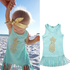 Baby Girls Princess Beach Dress Kids Casual Sundress ...