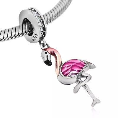 Tropical Bird Pendant Jewelry 925 Sterling Silver Flamingo Charm
