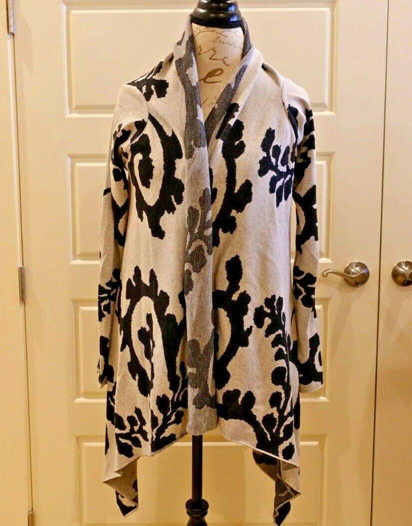 Peruvian Connection - schwarz & Weiß pima baumwolle open cardigan - Größe M