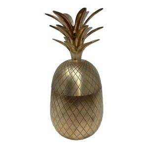 "Vintage Brass Pineapple 2 pc. Big Ice Bucket 12"" Tall Hollywood Regency MCM"
