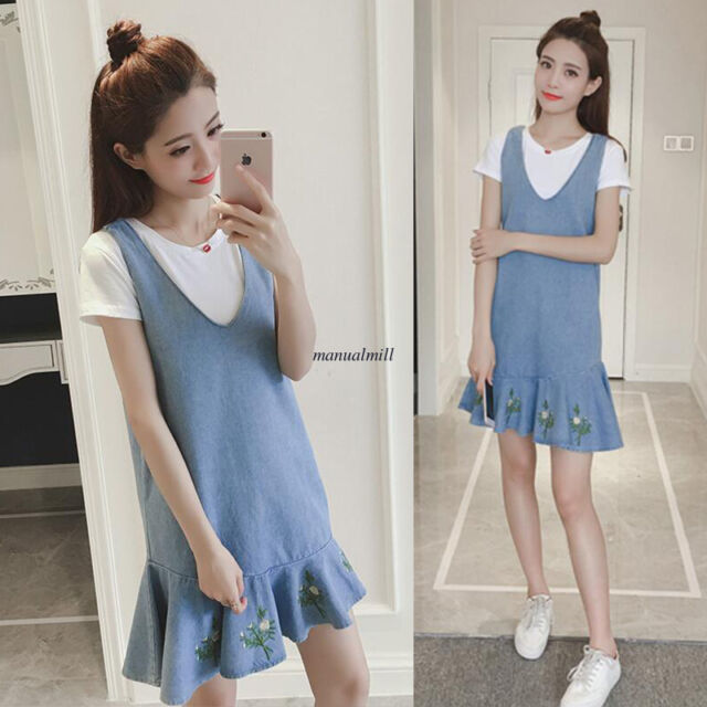 Chic Women Casual Loose A Line V Neck Tunic Denim Jeans Sundress Overalls Dress