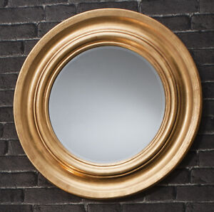 Trevose-Large-Round-Gold-Leaf-Scooped-Cameo-Metallic-Wall-Mirror-33-034-Diameter