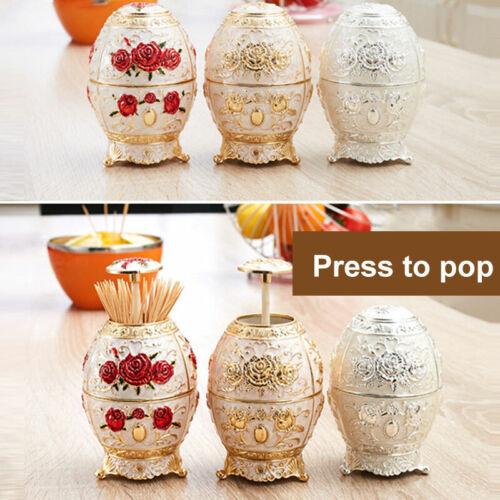Automatic Toothpick Container Box European Style Home Dispenser Table Decoration