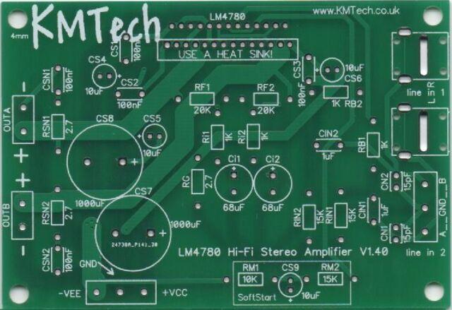 LM4780 HiFi Stereo Amp NEW VERSION 1.4.0  2 x 60W RMS PCB DIY PRICE DROP!