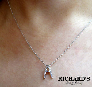14k white gold diamond initial necklace all letters available ebay image is loading 14k white gold diamond initial necklace all letters mozeypictures Image collections