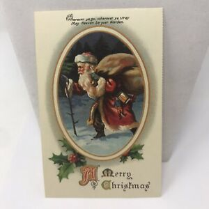 Vintage Reproduction Postcard 1988 Santa Claus A Merry Christmas Greeting