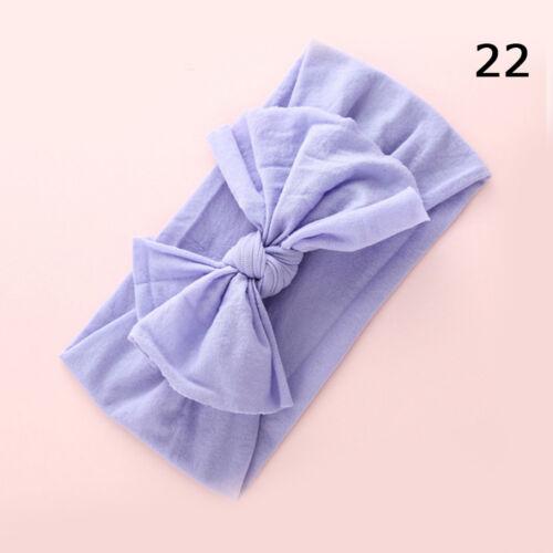 2pcs Girls Baby Toddler Turban Solid Headband Hair Band Bow Accessories Headwear