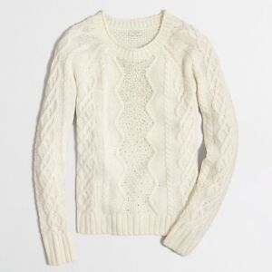 J-Crew-Embellished-Cable-Knit-Ivory-Sweater-Size-Medium