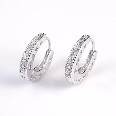 Wedding Earrings 18k White Gold Filled Charming Hoops Luxury Jewelry