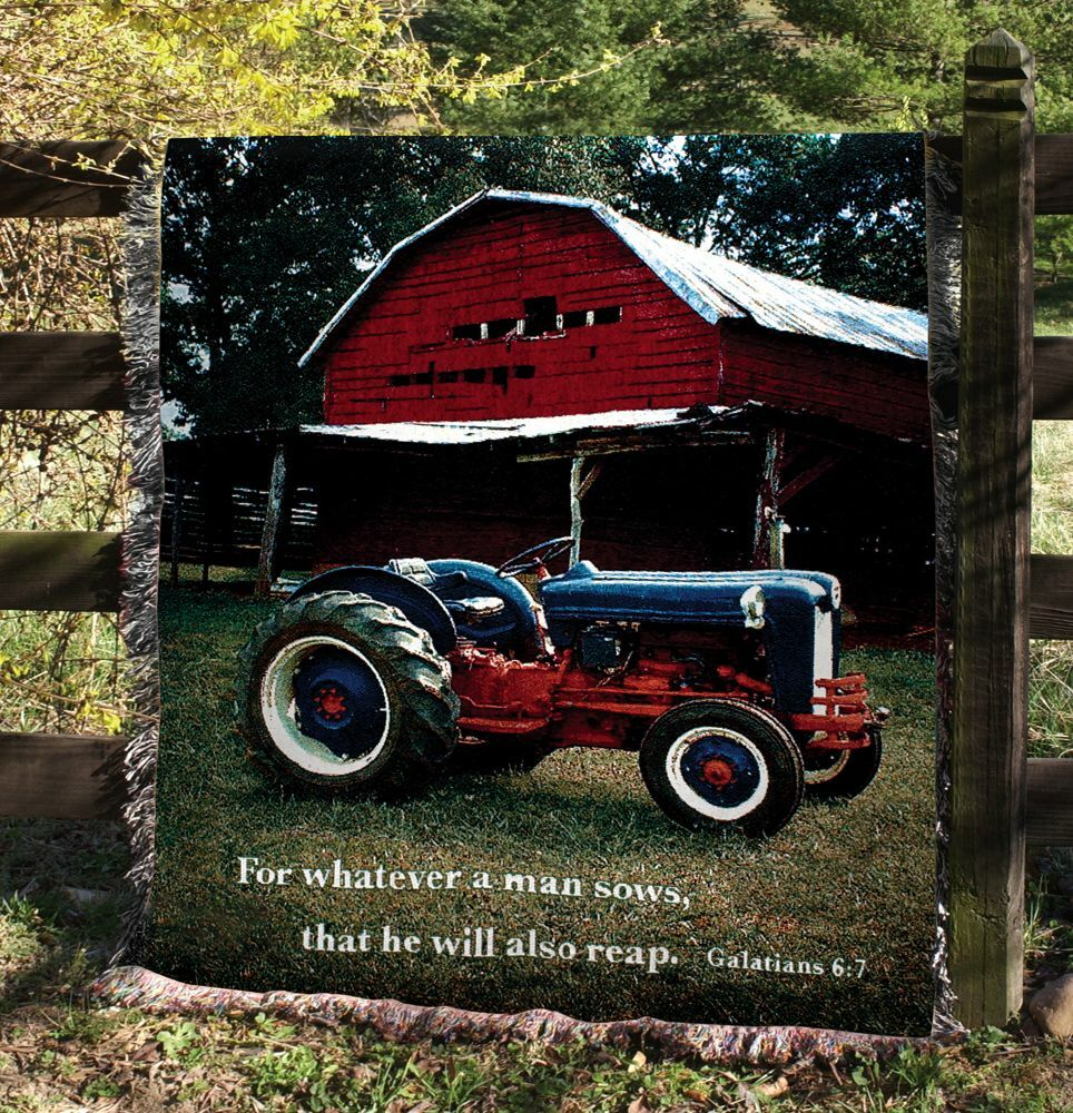 Mill Spring Farm & Tractor Tapestry Afghan Throw w Verse  Galatians 6 7