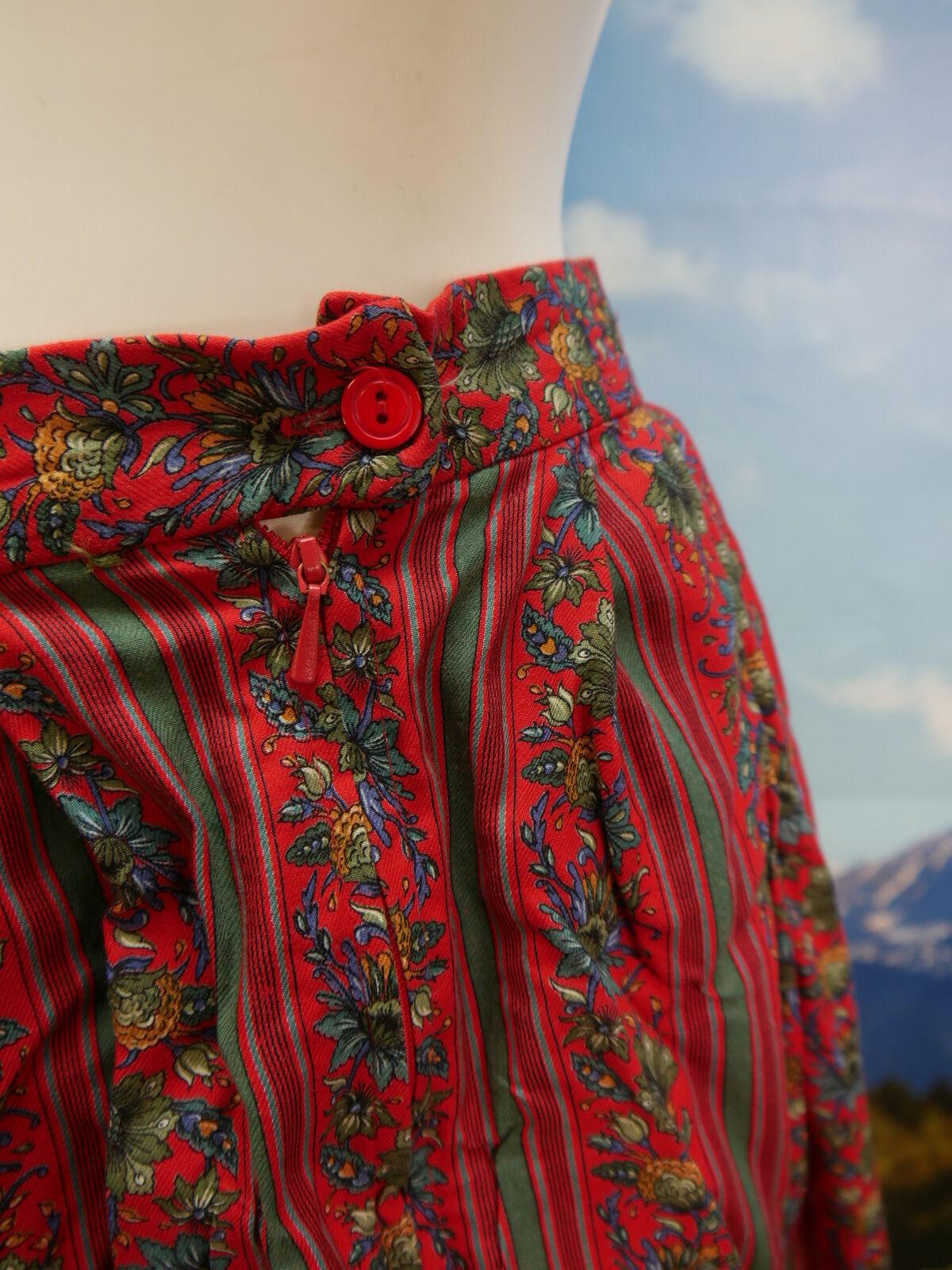 Trachten Rock Meico Rosso Cotone Motivo Floreale magnifico fantastiche Trachten Trachten Trachten ROCK TG. 38 e46176