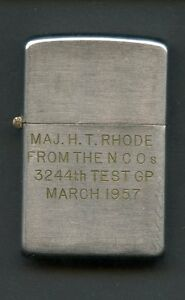 VINTAGE 1950'S ZIPPO LIGHTER MAJOR RHODE GIFT FROM NCO'S MARCH 1957 SEE PIC