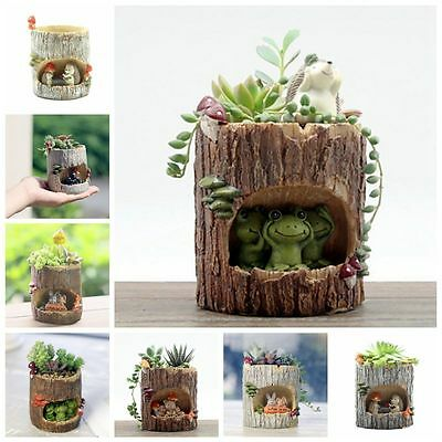 Lovely Resin Succulent Plant Flower Bonsai Planter Pot Box Bed Garden Decor