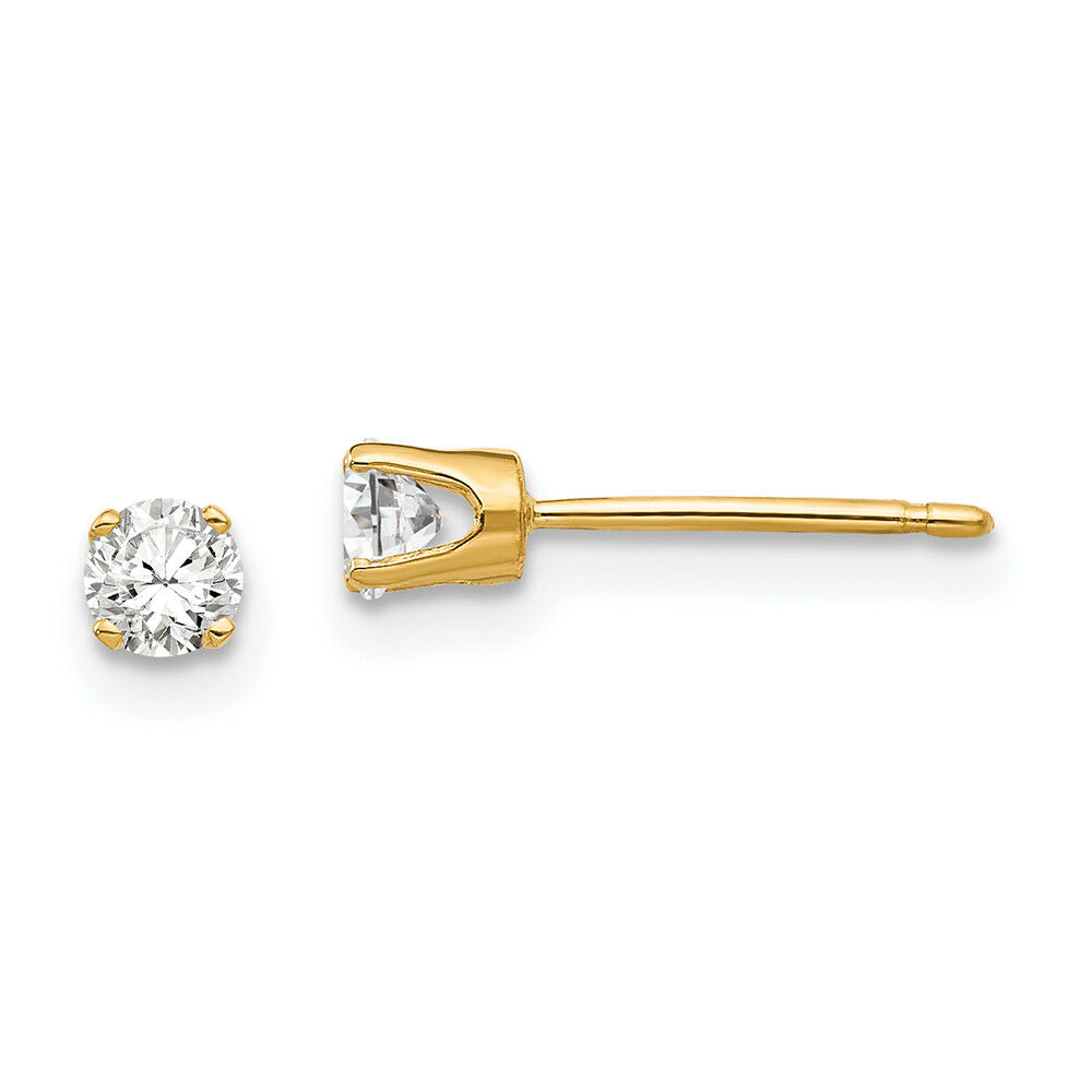 14K Yellow gold 3.25 MM Round CZ Stud Earrings MSRP  147