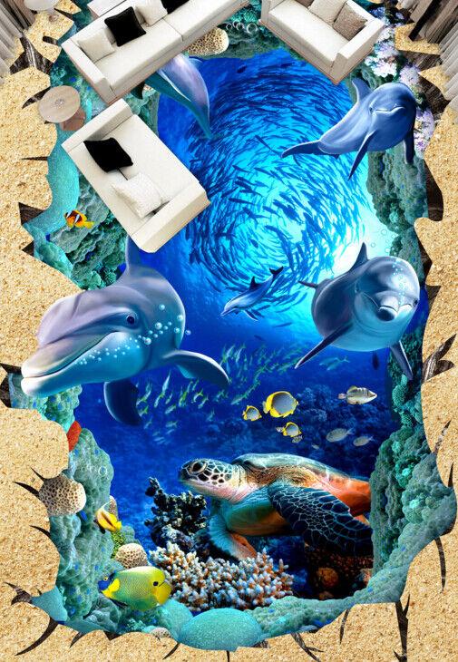 3D Marine Fish Group 78 Floor WallPaper Murals Wall Print Decal AJ WALLPAPER US