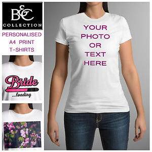 eb525029225a2 Details about New Ladies Personalised Custom Printed T-shirt Womens Hens  Party Cotton Tee Top
