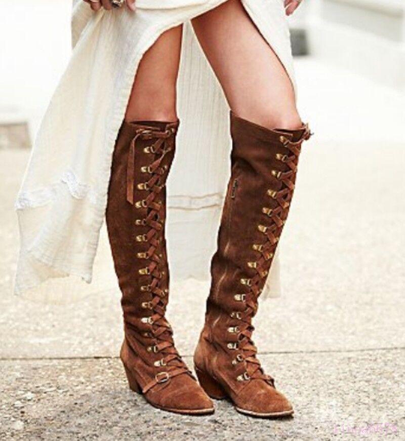 Western Tacón Cowboy Con Cordones Cremallera para Mujer Vintage Gamuza Tacón Western Cubano la rodilla botas altas Zapatos d1d93d