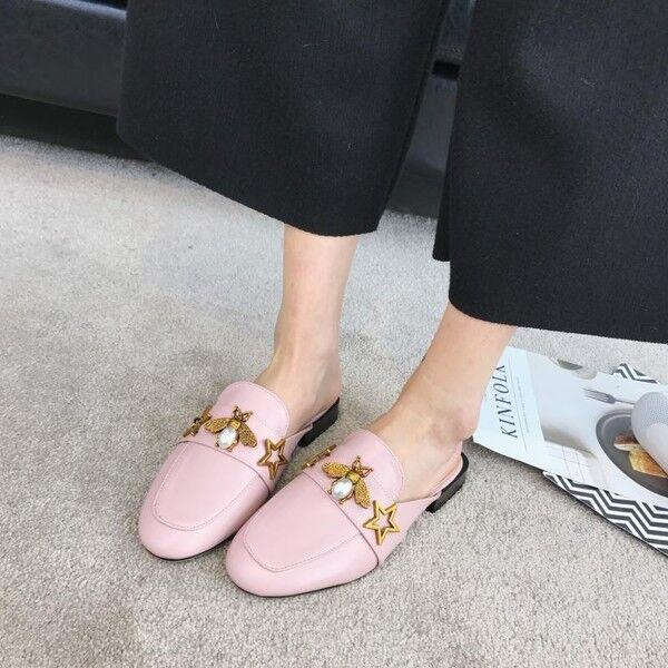 Sandale ciabatte primavera rosa oro basse moda simil pelle eleganti 9745