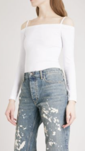 55558423eaa390 NWT Helmut Lang Seamless Long Sleeve Off Shoulder Strappy Layering Top  White L
