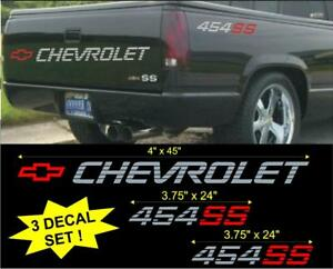 Details About Chevrolet 454 Ss Lg Tailgate Bed Vinyl Vehicle Decal Stickers Set 1990 S Truck