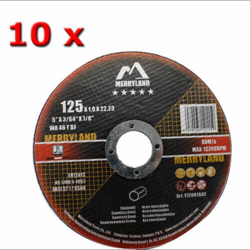 10 x Edelstahl Trennscheiben 125x1,0x22,23 Merryland  für INOX