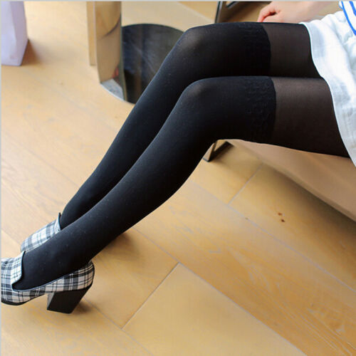Women Lady Stockings Patchwork Tattoo Tights Sheer Footed Pantyhose