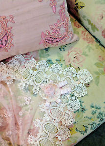 Image Is Loading Divine Elegant Victorian PINK Lace Pearl Embroidered Rose