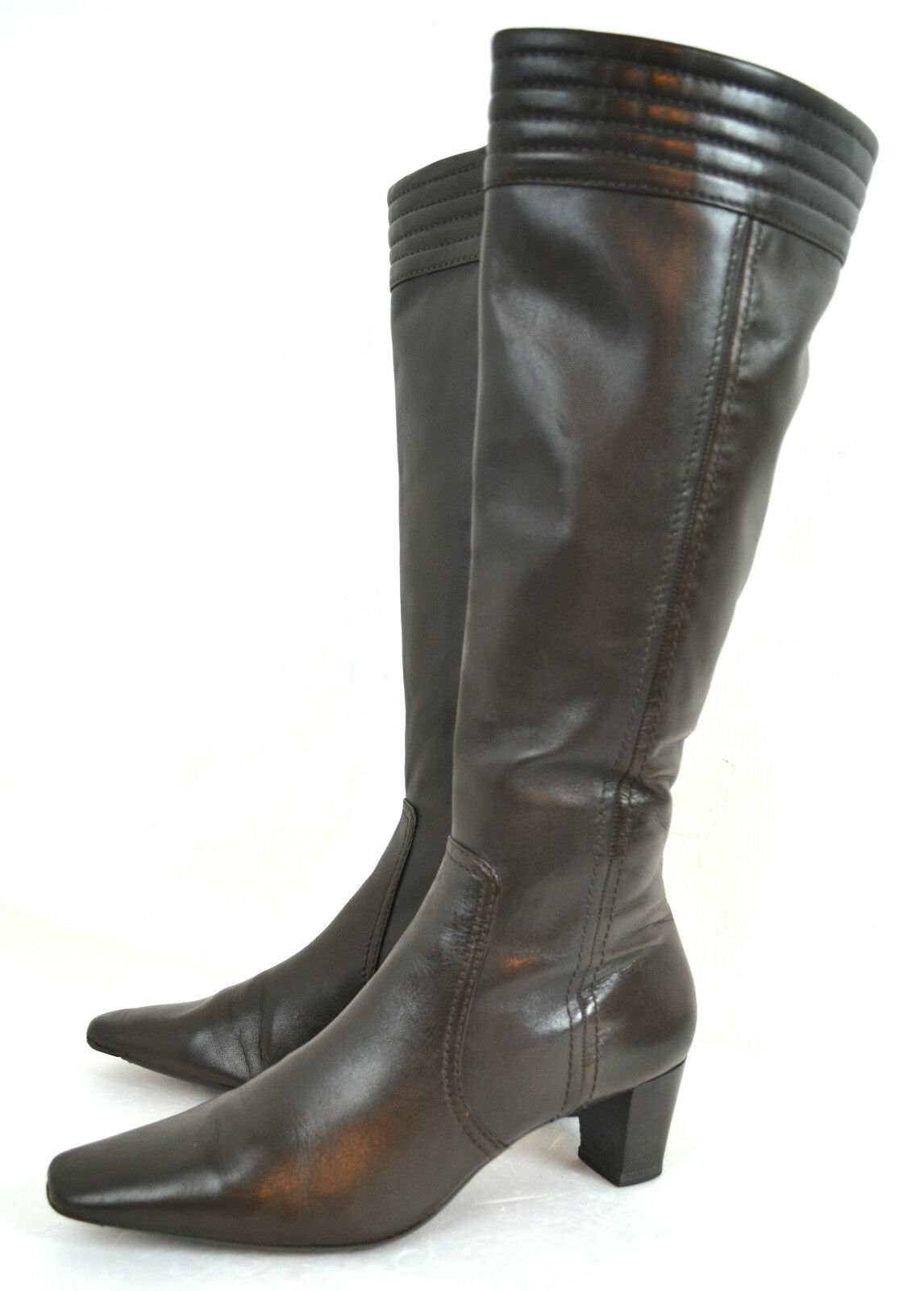 COLE HAAN BROWN GENUINE LEATHER WOMEN BOOTS SIZE 9 M 2.1/4