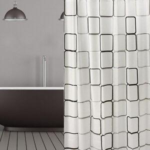 Peva Rideau de douche noir gris IMAGE 180x200 cm incl. anneaux blanc ...